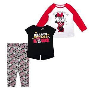 Minnie Mouse Red & White Raglan Tee Set of 3 Girls